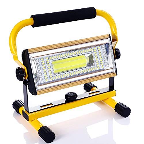 LED Baustrahler 100W,70000LM Super Hell Bauscheinwerfer 360°Drehbar IP65 Wasserdicht USB Wiederaufladbares Flutlicht…