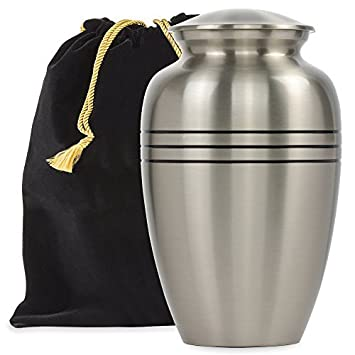 Grace and Mercy Pewter Large Urn for Human Ashes – A Beautiful and Humble Urn for Your Loved Ones Remains. This Lovely Simple Urn Will Bring You Comfort Each Time You See It – with Velvet Bag