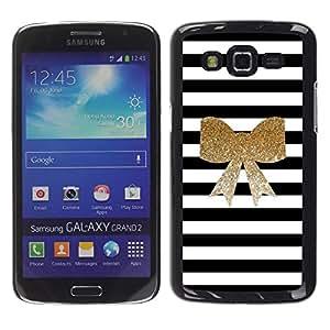 Be Good Phone Accessory // Dura Cáscara cubierta Protectora Caso Carcasa Funda de Protección para Samsung Galaxy Grand 2 SM-G7102 SM-G7105 // Black White Golden Bow Feminine