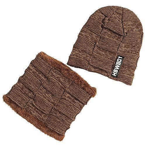 PASATO Man Women Stripe Pattern 2-Pieces Villus Thicker Winter Beanie Keep Warm Windproof Hat Scarf SetKnit Hat Thick Knit(Coffee,Free Size)
