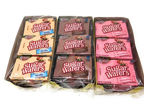 Sugar Cookies Strawberry - Keebler Sugar Wafers Variety (Vanilla,Chocolate and Strawberry) 2.75oz.-12 packs in each pack. Shipped and Sold by Bay Area Marketplace