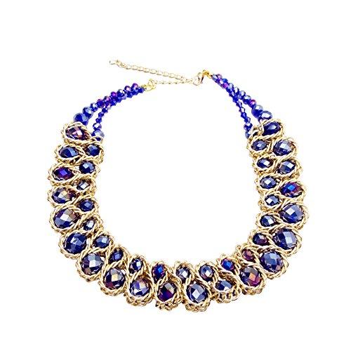 AWAYTR Ladies Choker Necklace Gold Tone Fashion Statement Big Multi Color Crystals Roayl blue