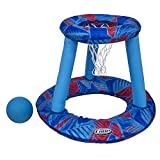 27.5' Red and Blue Inflatable Swimming Pool Spring Floating Basketball Game