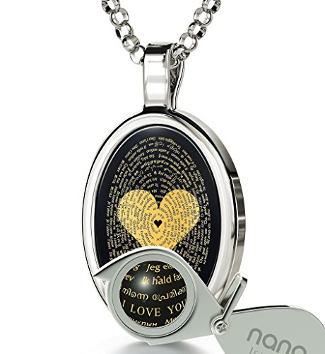 925 Sterling Silver Love Necklace Inscribed with I Love You in 120 Languages on Onyx Pendant, 18""