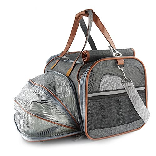 - Expandable Airline Approved Pet carrier Bag by Petratronics with Soft Sided Pet Carrier with Fleece Pad, Premium Zippers, Under Seat Compatibility, for Cats, Small Dog (Dark Grey)