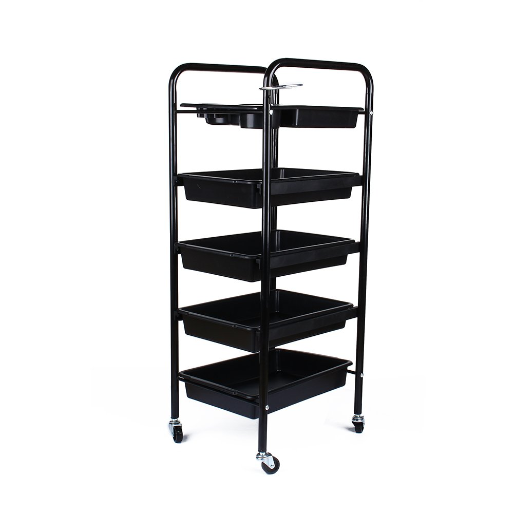 Salon Hairdresser 5-Tier Drawers Storage Trolley with Castors, Multifunctional Hairdressing Beauty Makeup Cart Coloring Spa Salon Cart, Black Estink