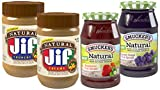 Smucker's Natural Fruit Spreads and Jif Natural Peanut Butter Spread (Pack of 4)