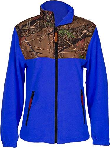 Trailcrest Women's Camo Fleece Full Zip C-max Wind Jacket, Dazzle Blue, Medium