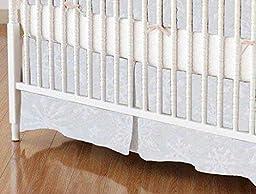 SheetWorld - MINI Crib Skirt (24 x 39) - White Snowflakes - Made In USA