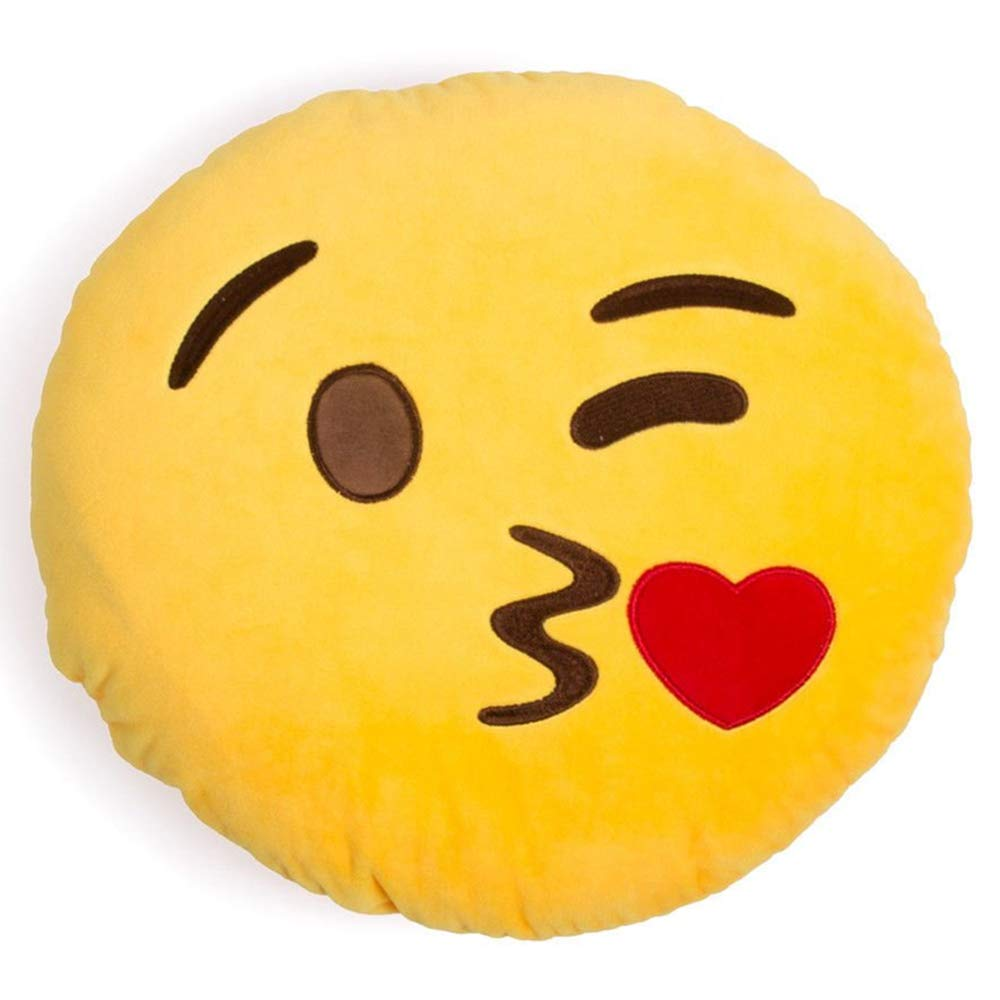BSGP 32cm Cute Emoji Emoticon Yellow Round Cushion Stuffed Plush Soft Pillow Toy Gift for kids Friends, Style #1