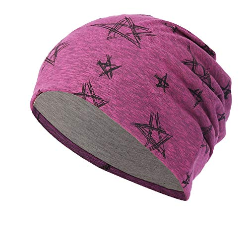Hot Sales!,NRUTUP Line Five-pointed star print Multifunction Slouchy Beanie for Jogging, Cycling.(Hot Pink,free -
