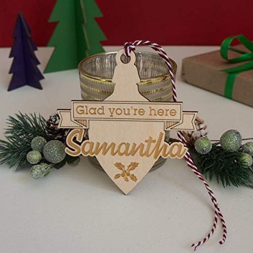 Personalised Christmas Bauble Name Place Settings Engraved Wooden