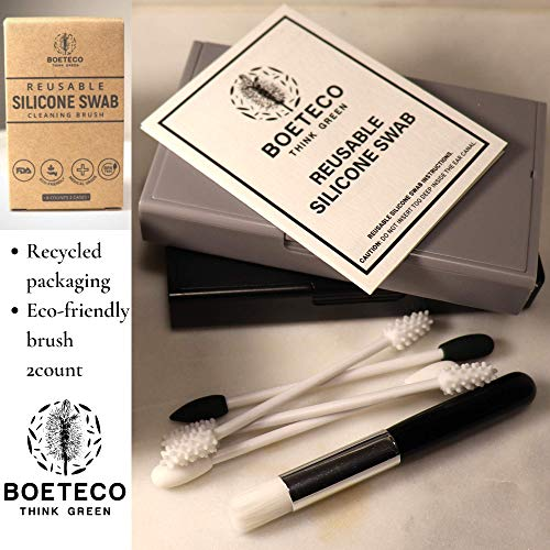 BOETECO Reusable Ear Swab and Makeup Swabs Kit. 2 Cases with 8 Reusable Silicone Cotton Swabs for Ears, Baby, Beauty (8Swabs 2Cases, Black & Grey)