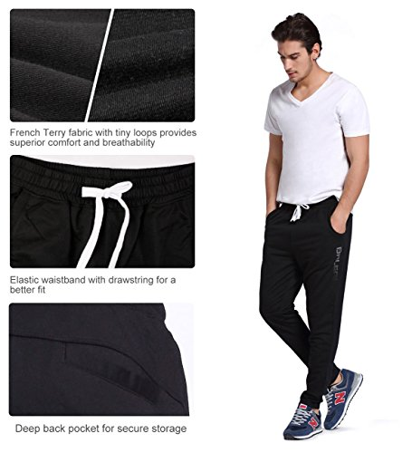 Baleaf Men's Tapered Athletic Running Track Pants Black Size XL by Baleaf (Image #4)