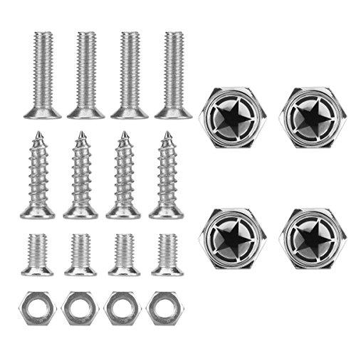 Dsycar Chrome Metal Land Force Black Pentagram Logo Anti-theft Car License Plate Bolts Frame Screws,Pack of 4 ()