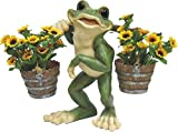 Cheap C&F Garden Decor Outdoor Polyresin Frog Planter Statue With Carrying Pole G187 14″H