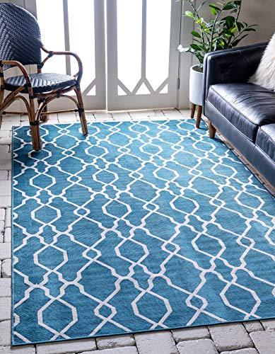 A2Z Rug Modern Outdoor Oasis Collection Blue 8' x 10' Feet Indoor/Outdoor Contemporary Area Rugs Patio Balconeis Gazebos Lucury Floor