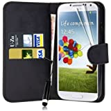 Connect Zone® Black Wallet PU Leather Flip Case Cover For Samsung Galaxy S4 I9500 + Screen Protector + Polishing Cloth & Mini Touch Screen Stylus