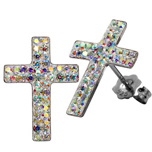YACQ 925 Sterling Silver Crystal Cross Dangle Earrings for Women