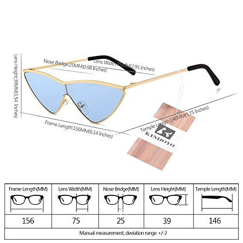 Soleil Protection Dégradés Femmes bleu lentille Mode Polarisées Oeil cadre Uv400 Or À Non De Lunettes Chat Triangle Kindoyo Verres IxfPx