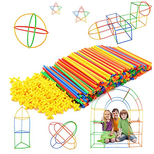 Straw Constructor STEM Building Toys 300 pcs-Colorful Interlocking Plastic Enginnering Toys- Fun- Educational- Safe for Kids- Develops Motor Skills-Construction Blocks- Best Gift for Boys and Girls -