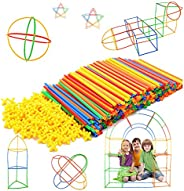 Straw Constructor STEM Building Toys 300 pcs-Colorful Interlocking Plastic Enginnering Toys- Fun- Educational-