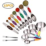 Ptsaying Measuring Cups and Spoons Set, Engraved Magnetic Measuring Spoons Stainless Steel, Double Sided Tablespoon Measuring Spoons Cups, 15 Pcs Baking, cat, Dog, Baby Spoons