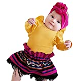 NUWFOR Infant Baby Boys Girls Long Sleeve Solid Jumpsuit Romper Clothes(Yellow,12-18Months