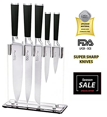 "SUPER SHARP!! 6 Piece Stainless Steel Kitchen Knife Block Set - 8"" Chef, 8"" Bread, 8"" Carving, 4½"" Utility, 3½"" Paring, Knives, & Stand - Best Gift, By Stone boomer."