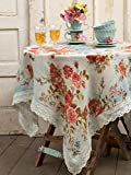 April Cornell Heirloom Rose Linen in Blue Tablecloth - 60'' by 90''