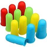 12 Pieces Silicone Hot Glue Gun Finger Caps, 4 Colors Finger Guard Protectors or Hot Glue Wax Rosin Resin Honey Adhesives Scr