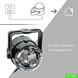 VIIVRIA 2PCS 3W RGB Sound-activated Stage LED Crystal Magic Rotating Ball Effect Led Stage Lights For KTV Xmas Party Wedding Holiday Show Club Pub Disco DJ