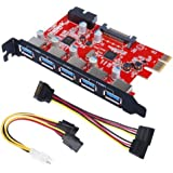 Inateck PCI-E to USB 3.0 5-Port PCI Express Card and 15-Pin Power Connector, Mini PCI-E USB 3.0 Hub Controller Adapter, with Internal USB 3.0 20-PIN Connector - Expand Another Two USB 3.0 Ports
