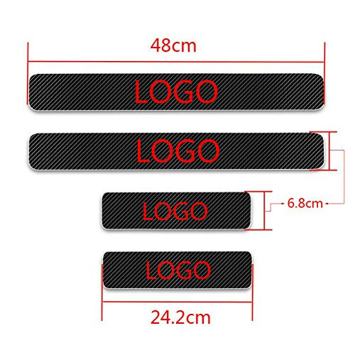 (MyGone for Nissan 350Z 4D M Car Carbon Fiber Door Sill Sticker Entry Guard Scuff Plate Pedal Protect Styling Kick Plates Anti Scratch Threshold Cover 4Pcs Red)