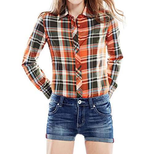 Cekaso Women's Long Sleeve Shirt Slim Fit Checkered Plaid Flannel Button Down Shirt, Orange, USsizeXL=TagsizeXXXL