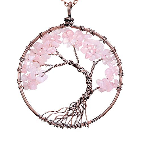 Viola Tricolor Tree of Life Rose Quartz Crystal Copper Necklace Pink Gemstone Chakra Jewelry Wire Wrapping Necklace Best Gifts for Women