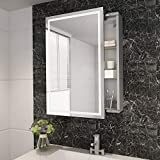 ELEGANT 430 x 690mm Modern LED Mirror Cabinet Stainless Steel Frame Bathroom Wall Storage Mirror with Lights, Sensor Switch