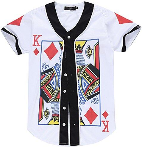 PIZOFF Unisex Short Sleeve King of Heart Basketball Team Baseball Shirt Y1724-41-M