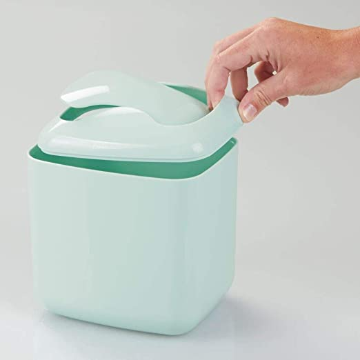 Ideal como papelera de oficina Papelera de dise/ño mDesign Cubo de basura en color menta papelera de ba/ño o papelera de cocina Material: pl/ástico resistente