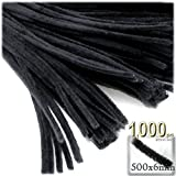 The Crafts Outlet Chenille Stems, Pipe Cleaner, 20-inch (50-cm), 1000-pc, Black