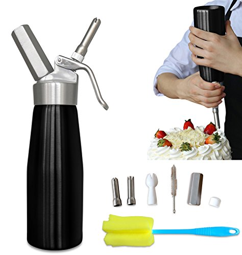 Whipped Cream Whipper (Professional Whipped Cream Dispenser Aluminium Cream Whipper - Whipping Siphon with Stainless Steel Tips Black Bonus Recipe Ebook Cleaning Brushes Lifetime Warranty Animato)