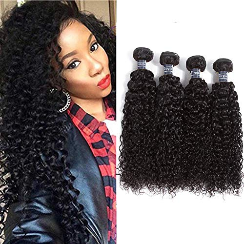 Amella Hair 100% Unprocessed Brazilian Curly Virgin Hair 4 Bundles 8A Brazilian Kinky Curly Virgin Hair Human Hair Extensions Natural Color(16 18 20 22)]()