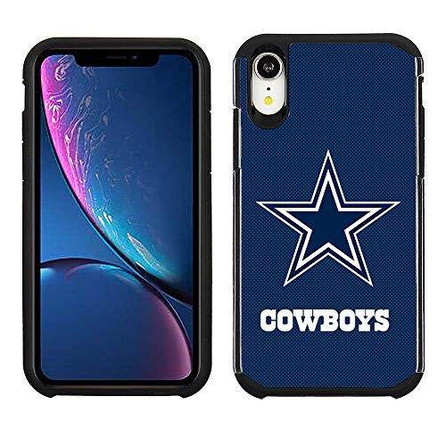 Cowboys Case Nfl Dallas (Prime Brands Group Cell Phone Case for Apple iPhone XR - NFL Licensed Dallas Cowboys - Blue Textured Back Cover on Black TPU Skin)