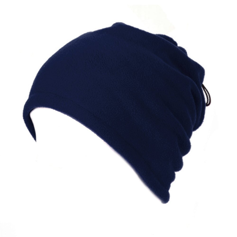 Opromo Fleece Snood Scarf Neck Warmer Beanie Hat Ski Balaclava Thermal Ski Wear-Navy Blue Double Layer-1piece