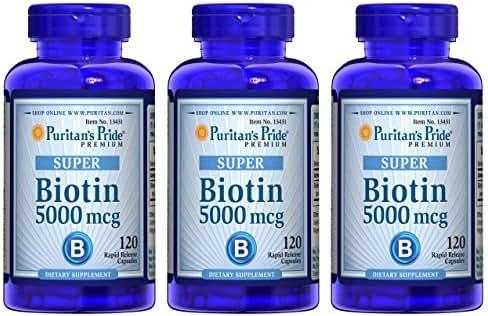Puritan's Pride Biotin 5000 mcg-120 Capsules - 3 Pack