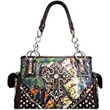 Cowgirl Western Rhinestone Cross Canvas Camo Satchel Purse Camouflage (brown)