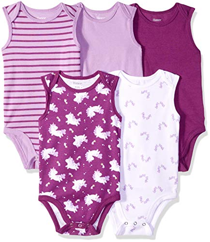 Hanes Ultimate Baby Flexy 5 Pack Sleeveless Bodysuits (Tanks), Purple Fun, 0-6 Months