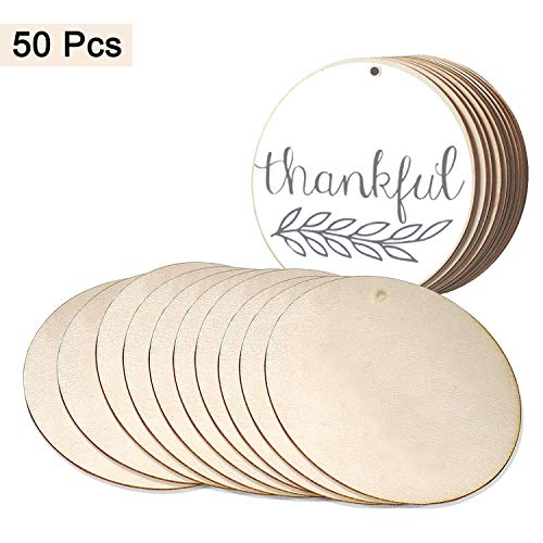 - Wood Circles (50pcs) - Unfinished Round Discs(3.9 Inch/10 cm) Blank Wooden Tags Slices Cutouts for DIY Crafts ,Birthday, Game Boards, Decorations