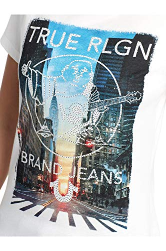 True Religion Women's Crystal Embellished Wheatpaste City Tee T-Shirt (Small, White)