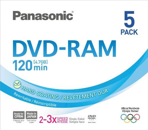 Panasonic 3x speed, 4.7GB, 5 pack DVD-RAM Disc by Panasonic